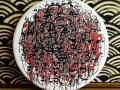 Image confirmation. September 2014. 100cm diameter. Ink, gouache and correction fluid on old table top